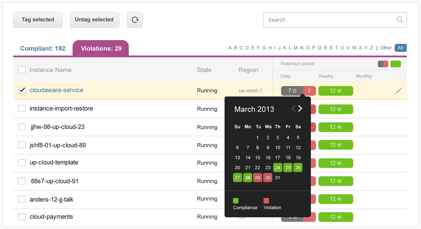 Backup calendar shows missing backups and helps to find restoration media.